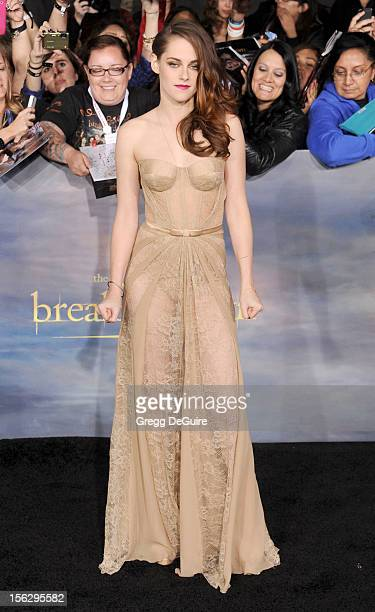 Actress Kristen Stewart arrives at 'The Twilight Saga Breaking Dawn Part 2' Los Angeles premiere at Nokia Theatre LA Live on November 12 2012 in Los...