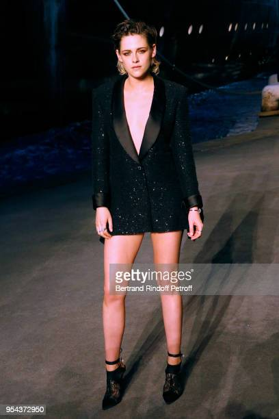 Actress Kristen Stewart attends the Chanel Cruise 2018/2019 Collection Photocall at Le Grand Palais on May 3 2018 in Paris France