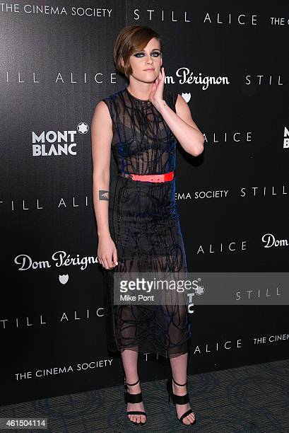 Actress Kristen Stewart attends The Cinema Society with Montblanc and Dom Perignon host a screening of Sony Pictures Classics' Still Alice at...