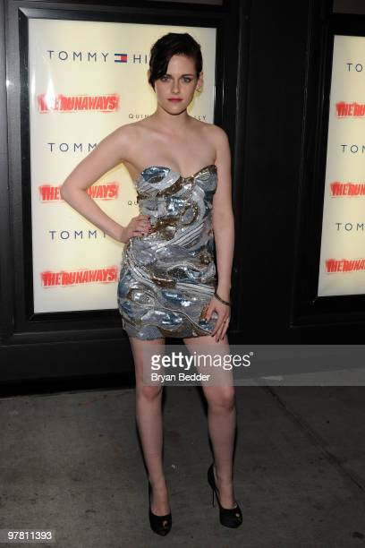 Actress Kristen Stewart attends the premiere of The Runaways at Landmark Sunshine Cinema on March 17 2010 in New York City