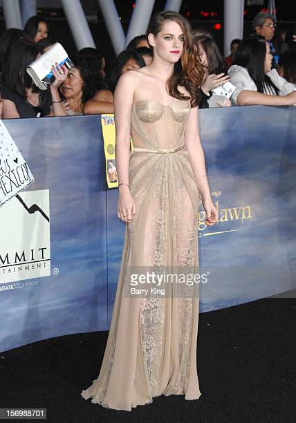 """Actress Kristen Stewart attends the premiere of """"The Twilight Saga: Breaking Dawn - Part 2"""" at Nokia Theatre L.A. Live on November 12, 2012 in Los..."""
