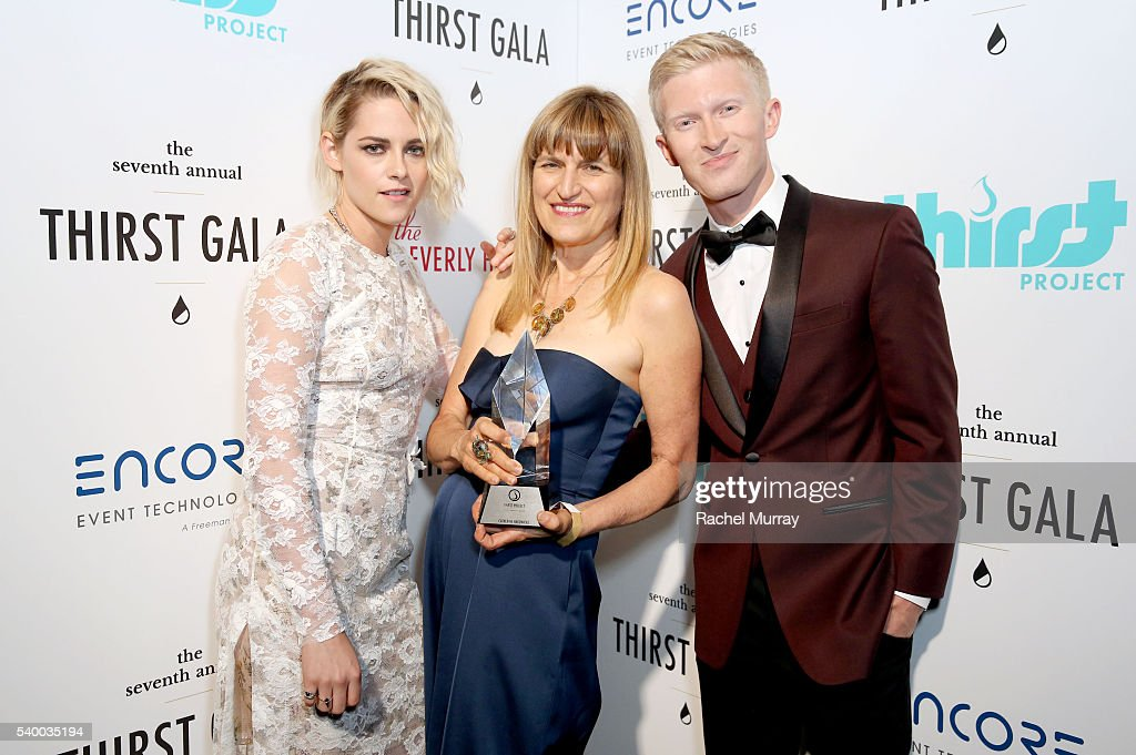 Actress Kristen Stewart, Governor's Award recipient Catherine Hardwicke and The Thirst Project President/CEO Seth Maxwell attend the 7th Annual Thirst Gala at The Beverly Hilton Hotel on June 13, 2016 in Beverly Hills, California.