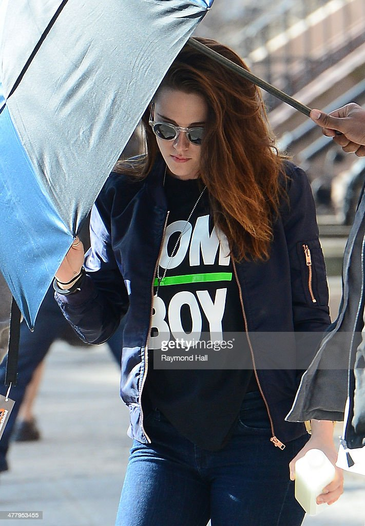 Actress Kristen Stewart is seen on the set of 'Still Alice'on March 11, 2014 in New York City.