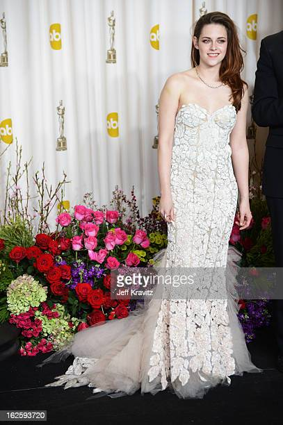 Actress Kristen Stewart poses in the press room during the Oscars at Loews Hollywood Hotel on February 24 2013 in Hollywood California