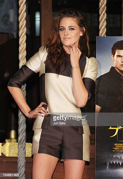 Actress Kristen Stewart promotes 'The Twilight Saga Breaking Dawn Part 2' at Kumamo Shrine on October 24 2012 in Tokyo Japan The film will open on...