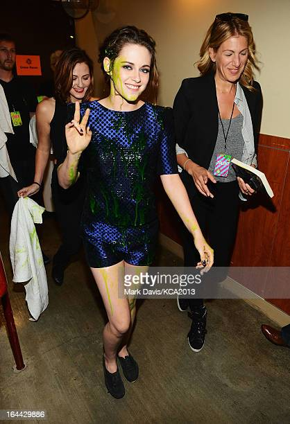Actress Kristen Stewart seen backstage at Nickelodeon's 26th Annual Kids' Choice Awards at USC Galen Center on March 23 2013 in Los Angeles California