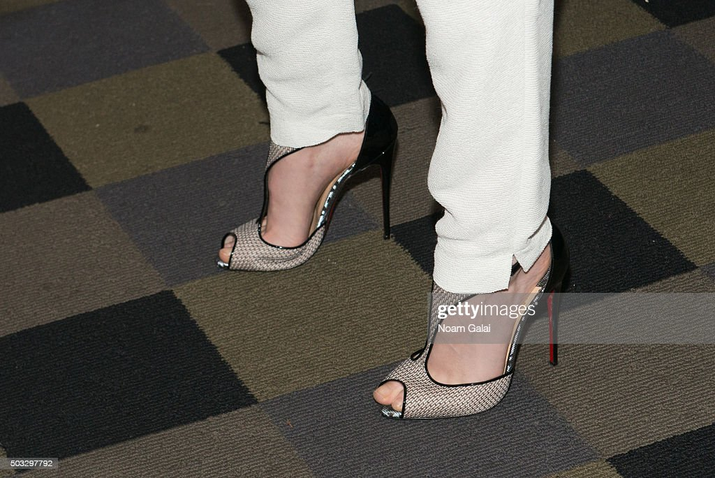 Actress Kristen Stewart, shoe detail, attends a screening of 'Clouds Of Sils Maria' at IFC Center on January 3, 2016 in New York City.