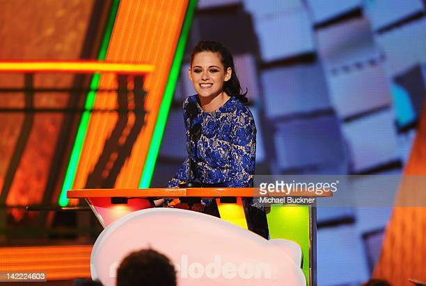 Actress Kristen Stewart speaks onstage at Nickelodeon's 25th Annual Kids' Choice Awards held at Galen Center on March 31 2012 in Los Angeles...