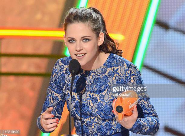 Actress Kristen Stewart speaks onstage at the 2012 Nickelodeon's Kids' Choice Awards at Galen Center on March 31 2012 in Los Angeles California