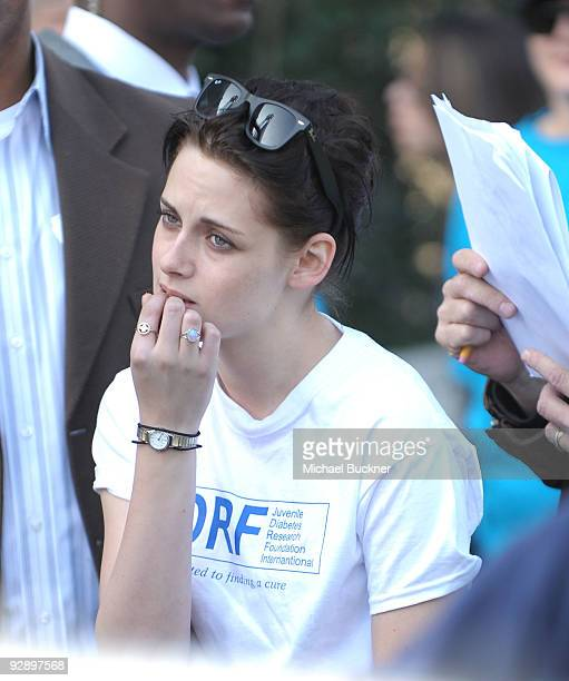 Actress Kristen Stewart waits backstage during the 2009 JDRF Walk To Cure Diabetes at Dodger Stadium on November 8 2009 in Los Angeles California