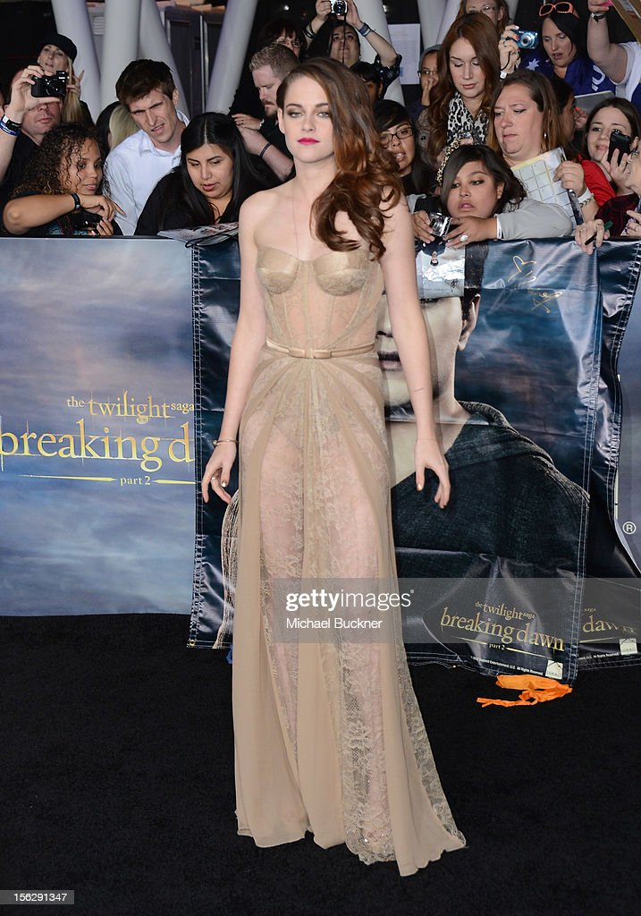 Actress Kristen Stewart, wearing Zuhair Murad, arrives at the premiere of Summit Entertainment's 'The Twilight Saga: Breaking Dawn Part 2' at Nokia Theatre L.A. Live on November 12, 2012 in Los Angeles, California.