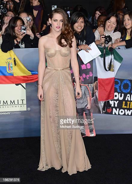 Actress Kristen Stewart wearing Zuhair Murad arrives at the premiere of Summit Entertainment's The Twilight Saga Breaking Dawn Part 2 at Nokia...