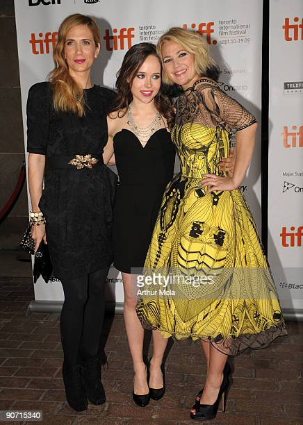 Actress Kristen Wiig actress Ellen Page and director Drew Barrymore attend theWhip It Premiere at the Ryerson Theatre during the 2009 Toronto...