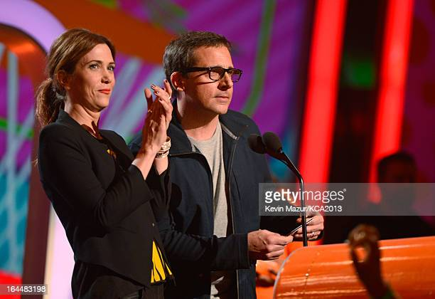 Actress Kristen Wiig and actor Steve Carrel perform during Nickelodeon's 26th Annual Kids' Choice Awards at USC Galen Center on March 23 2013 in Los...