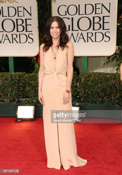 Actress Kristen Wiig arrives at the 69th Annual Golden Globe Awards held at the Beverly Hilton Hotel on January 15 2012 in Beverly Hills California