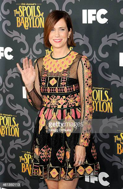 Actress Kristen Wiig arrives at the Los Angeles premiere of 'The Spoils Of Babylon' at DGA Theater on January 7 2014 in Los Angeles California