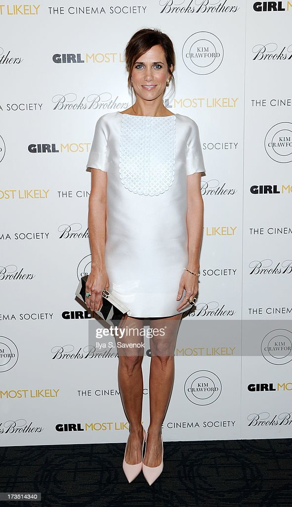 Actress Kristen Wiig attends The Cinema Society & Brooks Brothers Host A Screening Of Lionsgate And Roadside Attractions' 'Girl Most Likely's at Landmark Sunshine Cinema on July 15, 2013 in New York City.