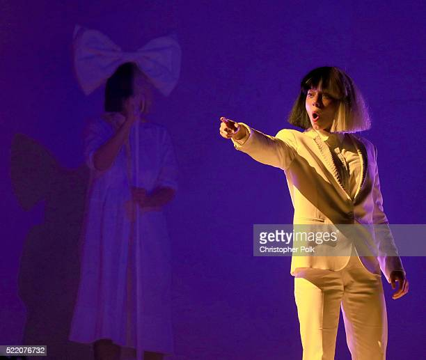 Actress Kristen Wiig performs onstage with Sia on day 3 of the 2016 Coachella Valley Music Arts Festival Weekend 1 at the Empire Polo Club on April...
