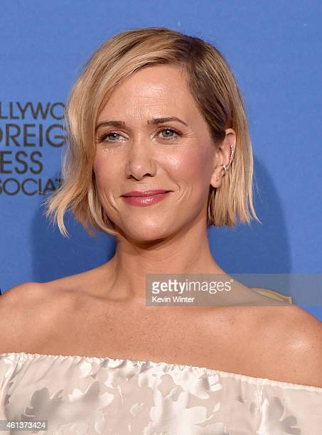 Actress Kristen Wiig poses in the press room during the 72nd Annual Golden Globe Awards at The Beverly Hilton Hotel on January 11 2015 in Beverly...