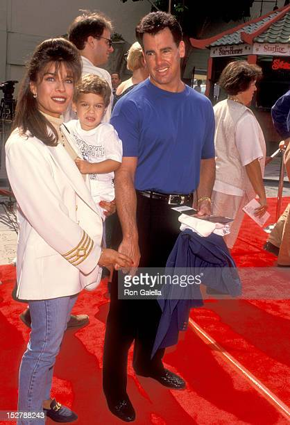 Actress Kristian Alfonso boyfriend Michael Palumbo and her son Gino Macauley attend the Dennis the Menace Hollywood Premiere on June 19 1993 at...
