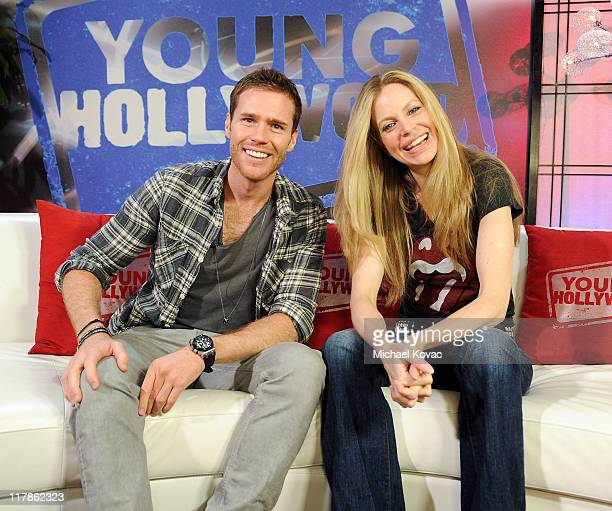 Actress Kristin Bauer visits host Oliver Trevena of YoungHollywoodcom at Young Hollywood Studio on July 1 2011 in Los Angeles California