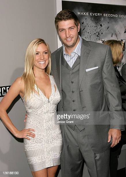 Actress Kristin Cavallari and NFL player Jay Cutler arrive at the Source Code Los Angeles Premiere held at ArcLight Cinemas on March 28 2011 in...