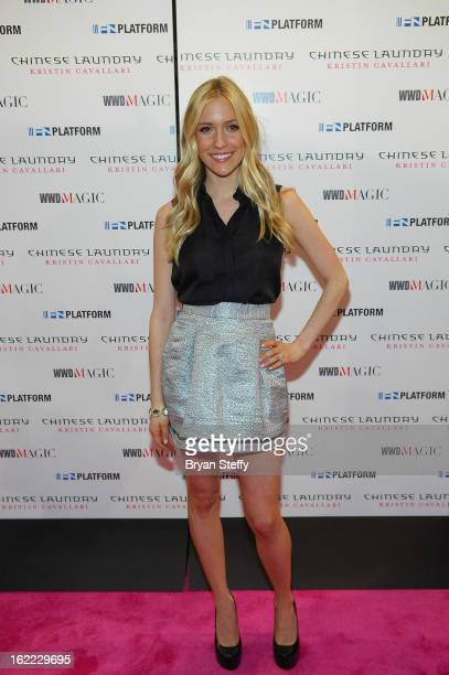 Actress Kristin Cavallari arrives at the Chinese Laundry booth in support of her new line of shoes at the MAGIC clothing industry convention at the...