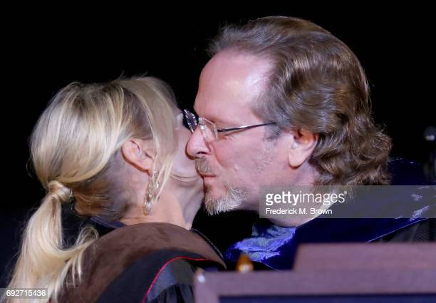 Actress Kristin Chenoweth and Bob Gazzale President/CEO of AFI attend AFI's Conservatory Commencement Ceremony at the TCL Chinese Theatre on June 5...