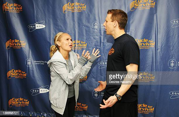Actress Kristin Chenoweth and CoFounder Cycle for Survival Dave Linn talk at the 2012 Cycle For Survival Day 2 at Equinox Graybar on February 12 2012...