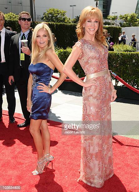 Actress Kristin Chenoweth and comedian Kathy Griffin attend the 2010 Creative Arts Emmy Awards at Nokia Plaza LA LIVE on August 21 2010 in Los...