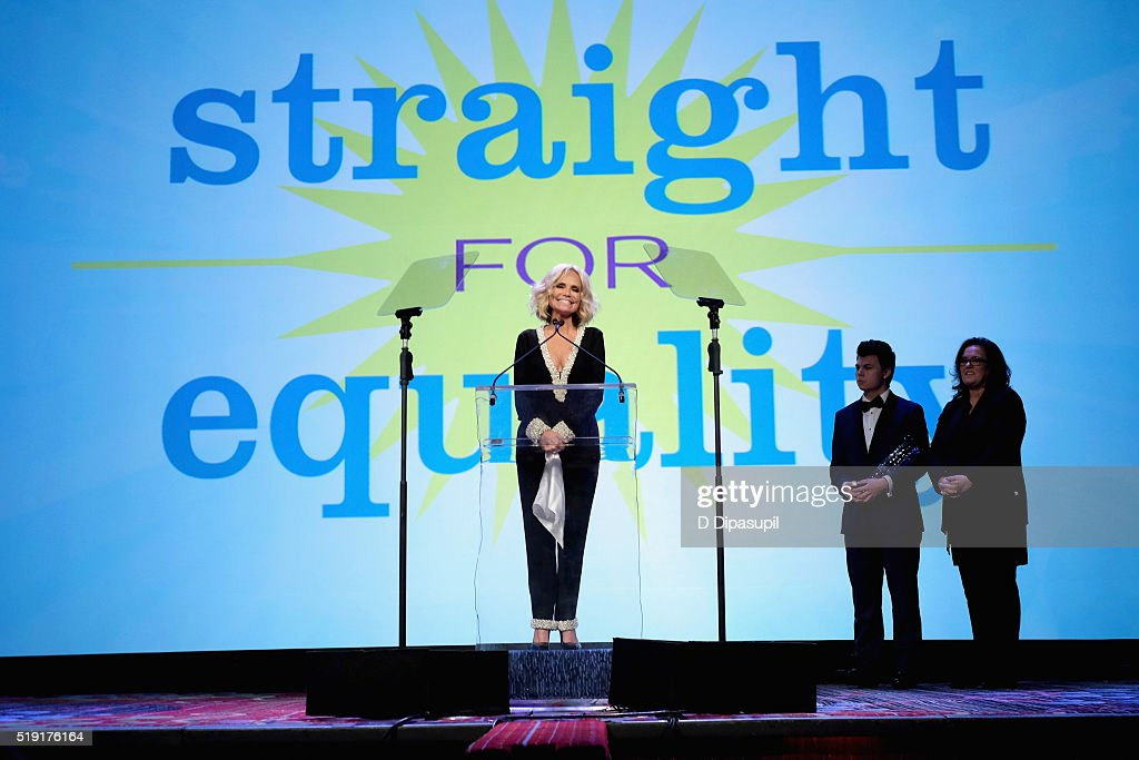 Actress Kristin Chenoweth, Blake Christopher O'Donnell and actress Rosie O'Donnell speak onstage at PFLAG National's eighth annual Straight for Equality awards gala at Marriot Marquis on April 4, 2016 in New York City.