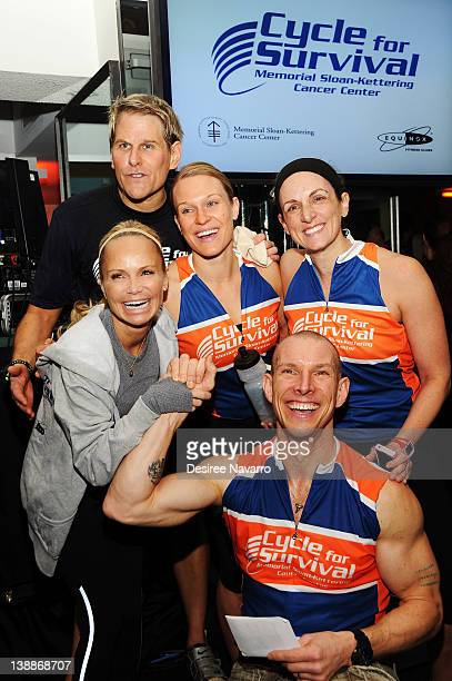 Actress Kristin Chenoweth poses with a team at 2012 Cycle For Survival Day 2 at Equinox Graybar on February 12 2012 in New York City