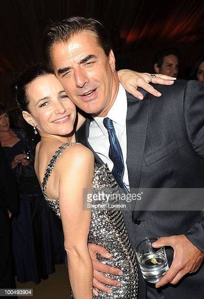Actress Kristin Davis and actor Chris Noth attend the after party following the premiere of Sex and the City 2 at Lincoln Center for the Performing...