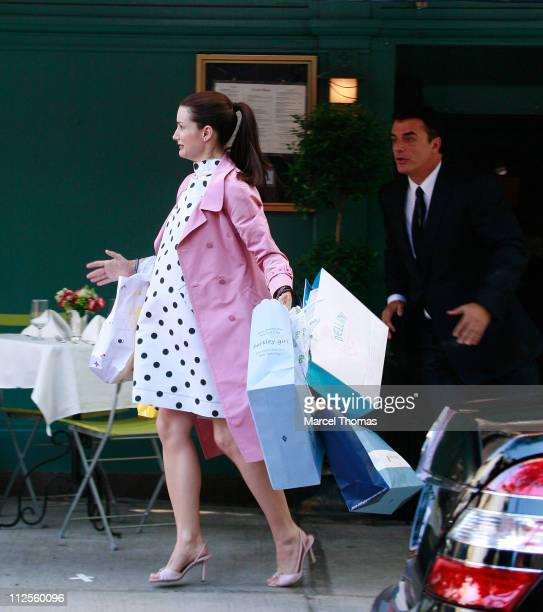 Actress Kristin Davis and actor Chris Noth film a scene for 'Sex and the City The Movie' on the upper eastside September 20 2007 in New York City
