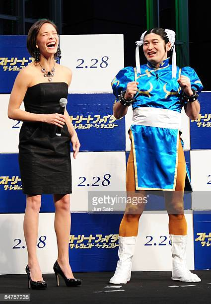 Actress Kristin Kreuk and comedian Waking Hiking Qtaro attend 'Street Fighter The Legend of ChunLi ' Japan Premiere at Akihabara UDX on February 12...