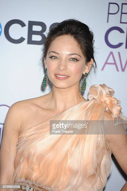 Actress Kristin Kreuk posing in the press room at the People's Choice Awards 2013 held at the Nokia Theater L A Live
