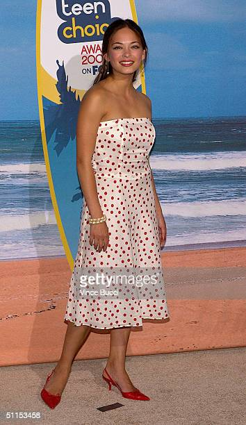 Actress Kristin Kreuk presenter for Choice TV Reality Show award poses backstage at The 2004 Teen Choice Awards held at Universal Amphitheater on...