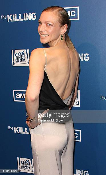 Actress Kristin Lehman attends the premiere of AMC's series The Killing at the Harmony Gold Theater on March 21 2011 in Los Angeles California