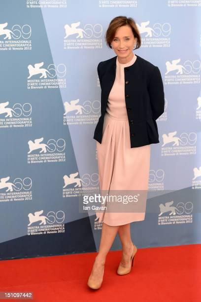 Actress Kristin Scott Thomas attends the Cherchez Hortense Photocall during the 69th Venice International Film Festival at Palazzo del Casino on...