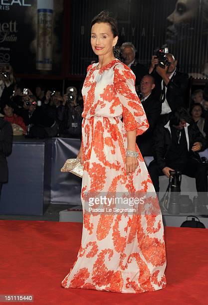 Actress Kristin Scott Thomas attends the Cherchez Hortense Premiere during The 69th Venice Film Festival at the Palazzo del Cinema on September 1...