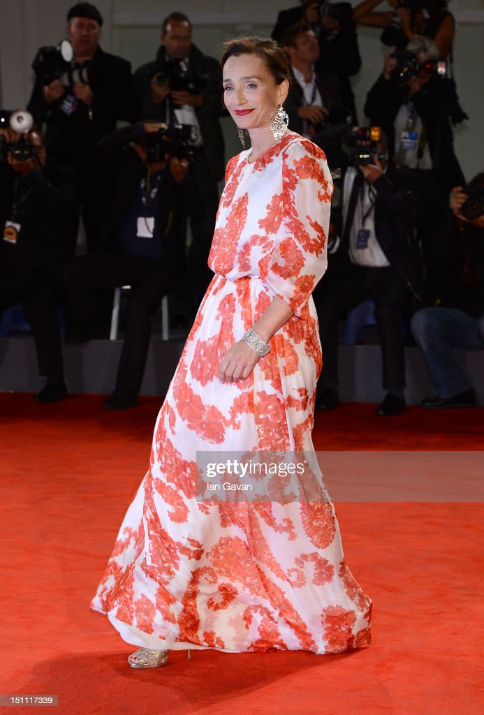 Actress Kristin Scott Thomas attends the 'Cherchez Hortense' Premiere during The 69th Venice Film Festival at the Palazzo del Cinema on September 1, 2012 in Venice, Italy.