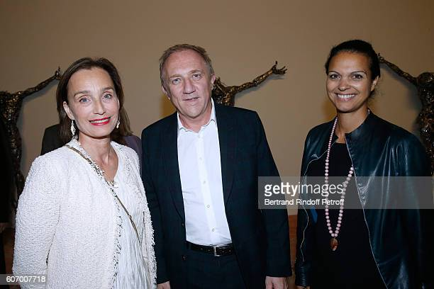 Actress Kristin Scott Thomas CEO of Kering Group FrancoisHenri Pinault and journalist Isabelle Giordano attend the 4O Rue de Sevres Preview at the...