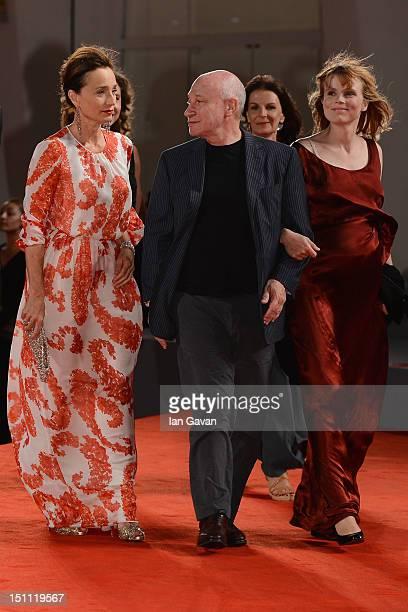 Actress Kristin Scott Thomas Director Pascal Bonitzer and actress Isabelle Carre attend the 'Cherchez Hortense' premiere during the 69th Venice Film...