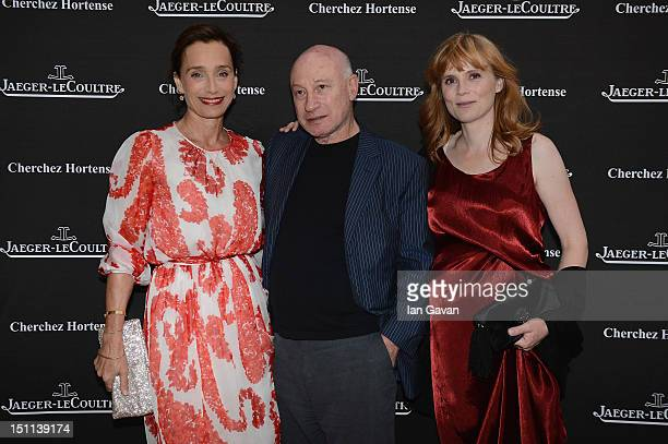 Actress Kristin Scott Thomas director Pascal Bonitzer and actress Isabelle Carre attend JaegerLeCoultre hosts 'Cherchez Hortense' dinner at Harry's...