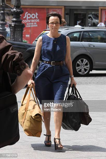 Actress Kristin Scott Thomas is spotted at the 'Gare du Nord' on June 28 2011 in Paris France
