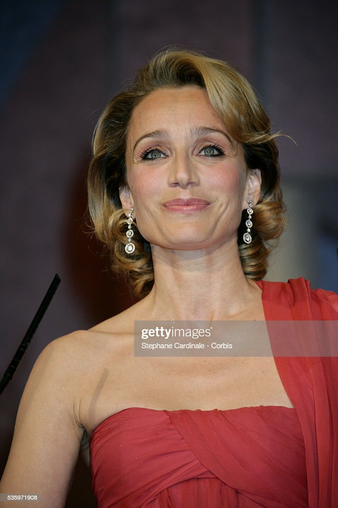 Actress Kristin Scott Thomas presents the 'Best Director' award at the closing ceremony of the 58th Cannes Film Festival.