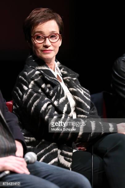 Actress Kristin Scott Thomas speaks on stage during SAGAFTRA Foundation Conversations Darkest Hour at SAGAFTRA Foundation Robin Williams Center on...