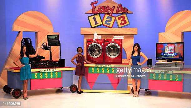 Actress Kristolyn Lloyd and show models speak during CBS' 'The Bold and the Beautiful' Showcase on 'The Price Is Right' television show on March 12...