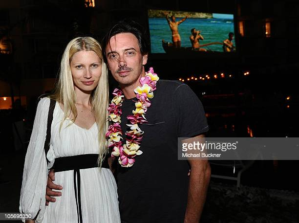 Actress Kristy Hume and musician Donovan Leitch attend the Blue Hawaii screening at the Private Sunset Beach at The Waikiki EDITION on October 14...