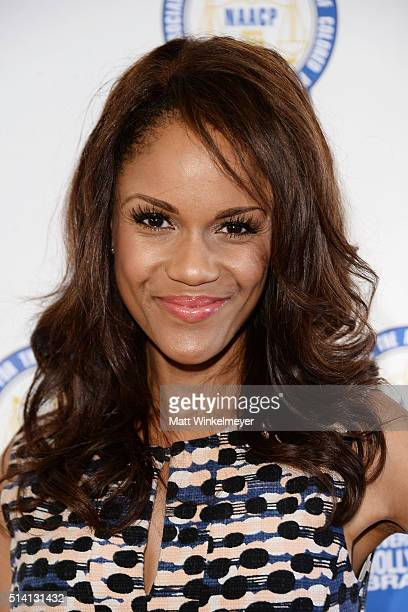Actress Kristy Johnson arrives at the 25th annual NAACP Theatre Awards press conference at The Ebony Repertory Theatre on March 6 2016 in Los Angeles...